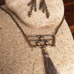 Bead and grey tassel necklace SET