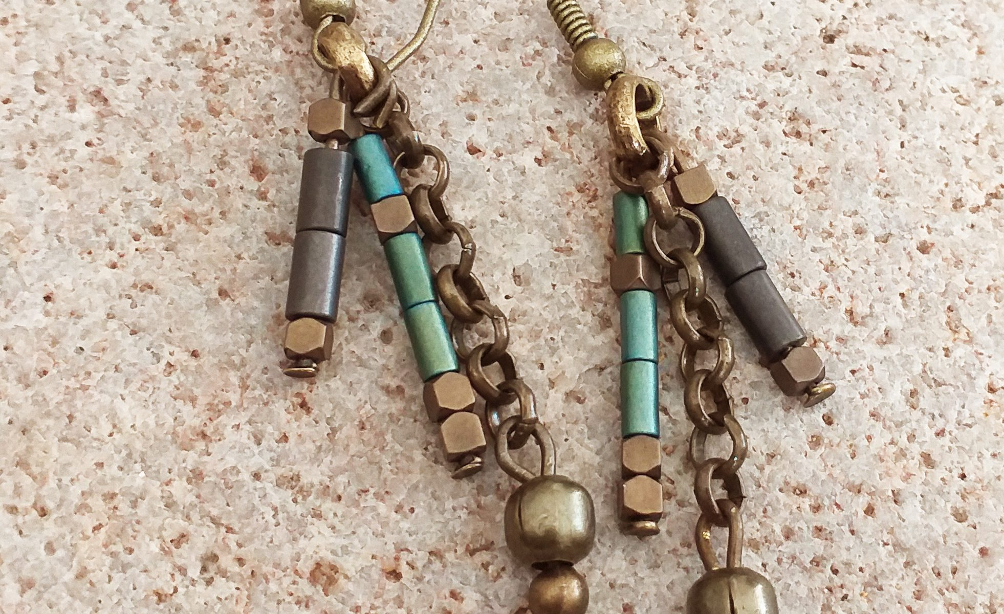 Bead and grey tassel necklace SET earrings