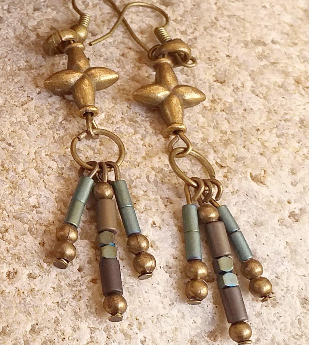 Beaded V pendant necklace SET earrings