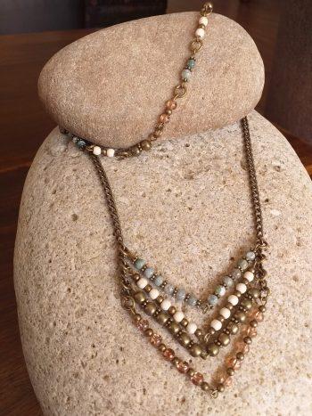 Beaded chevron necklace SET