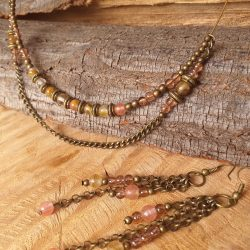 Glass bead chocker necklace SET