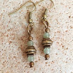 Green aventurine polished bead SET earrings