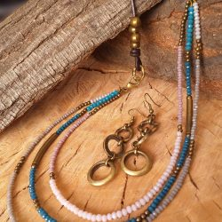 Leather and bead necklace SET