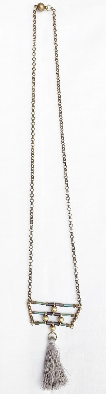 Product pic bead and grey tassel necklace