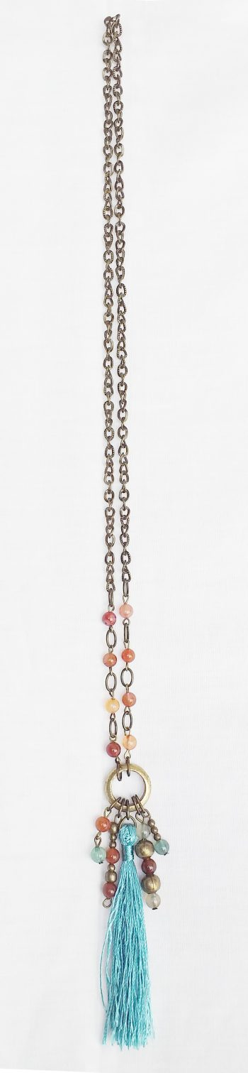 Product pic bead and turquiose tassel necklace