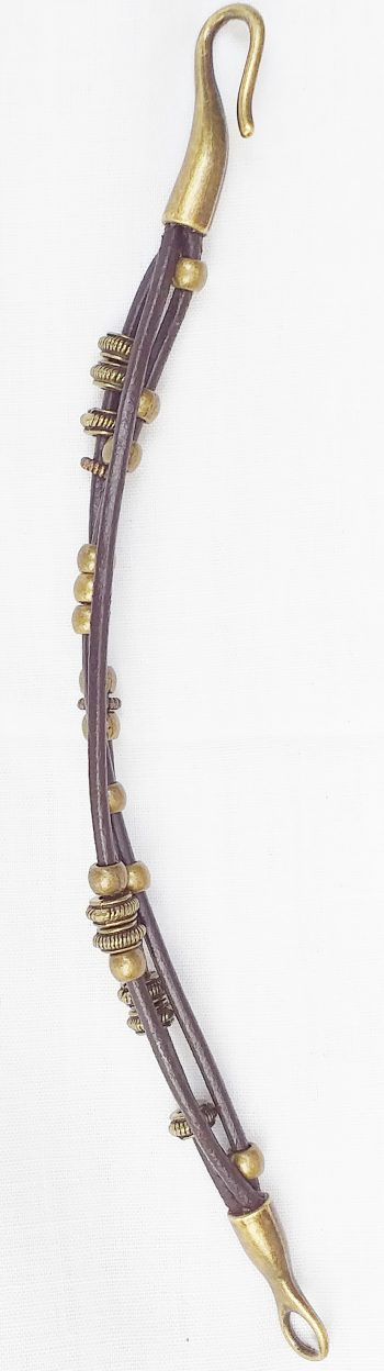 Product pic brown leather and brass bead bracelet