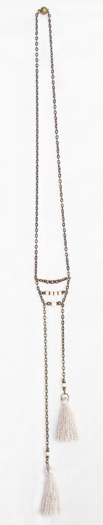 Product pic long beige tassel necklace