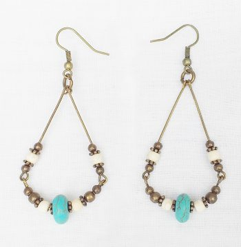 Product pic turquoise and bone bead earrings