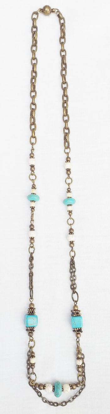 Product pic turquoise and bone bead necklace