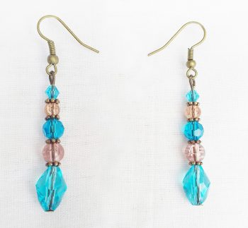 Product pic turquoise and brown glass bead bracelet earrings