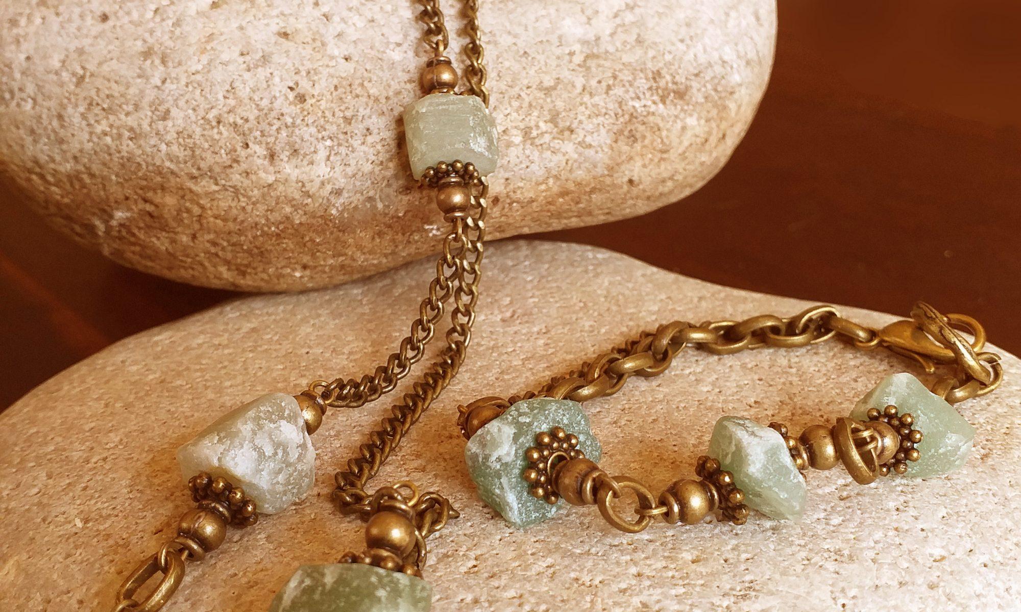 Raw green aventurine necklace and bracelet