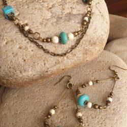 Turquoise and bone bead necklace SET