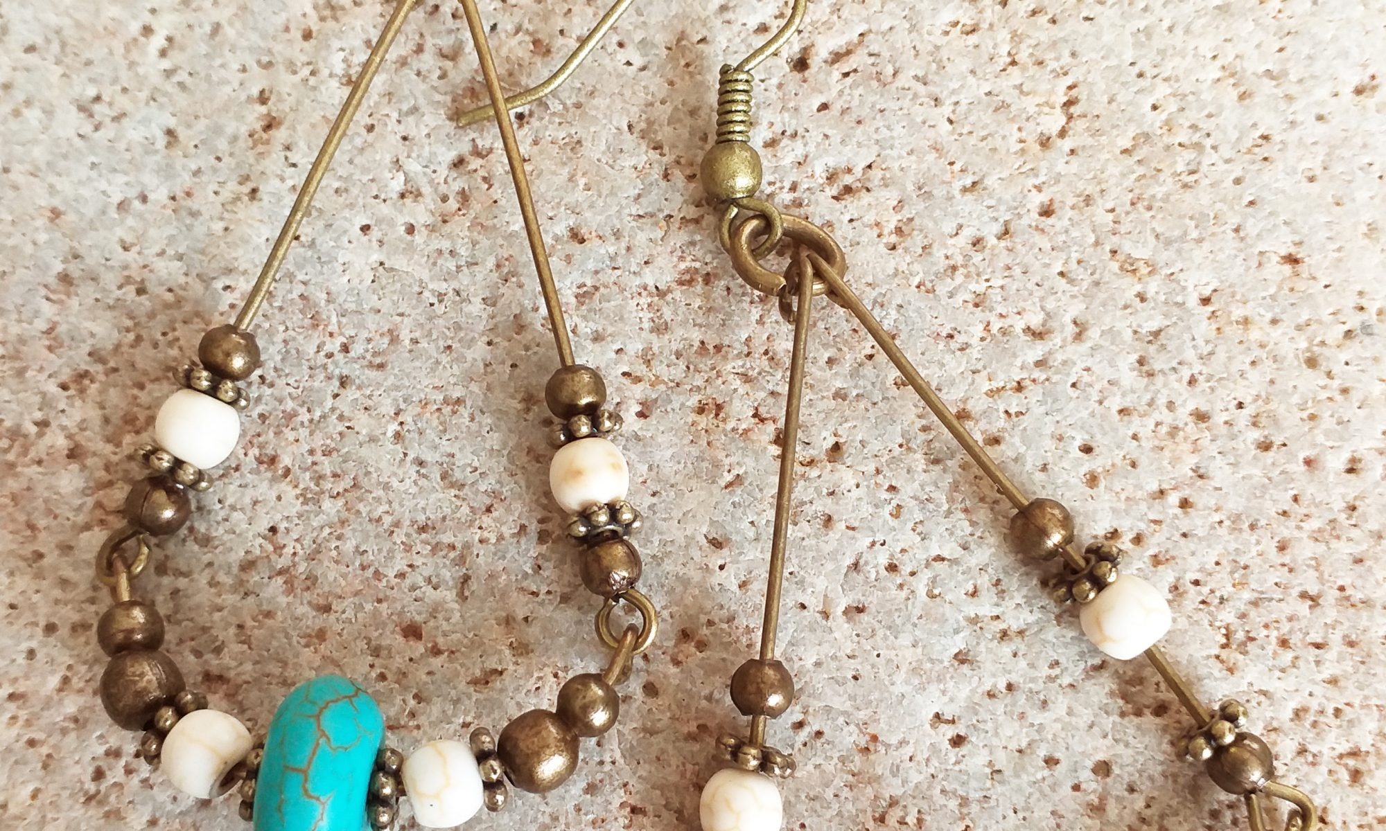 Turquoise and bone bead necklace SET earrings