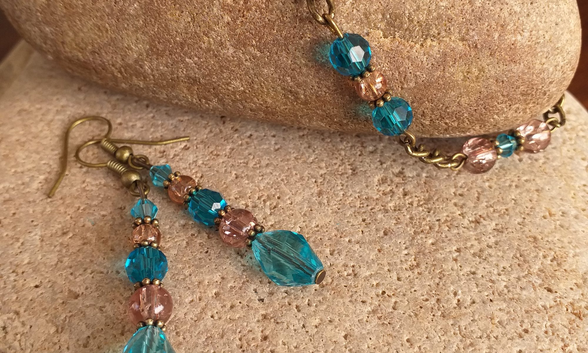 Turquoise and brown glass bead SET