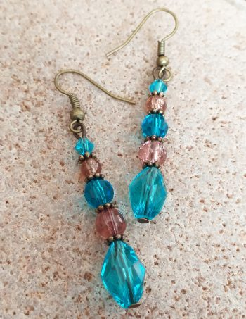 Turquoise and brown glass bead SET earrings