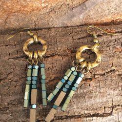 Brass Three piller earring