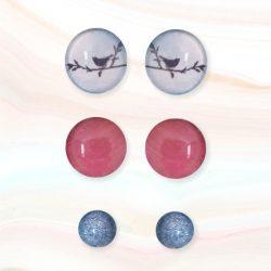cabouchon earrings blue bird