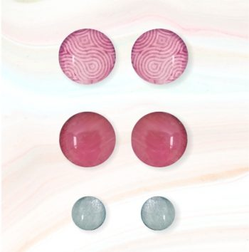 cabouchon earrings pink retro