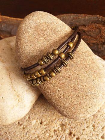leather three band bracelet