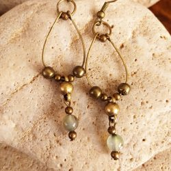 loop brass and green glass bead earring