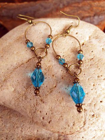 turquoise glass bead earring