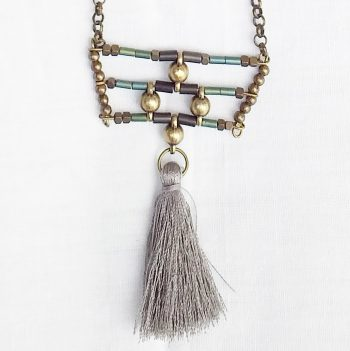 Product pic bead and grey tassel necklace thumbnail