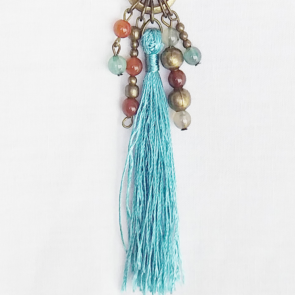Product pic bead and turquiose tassel necklace thumbnail