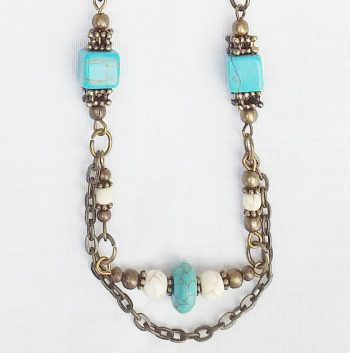 Product pic turquoise and bone bead necklace thumbnail